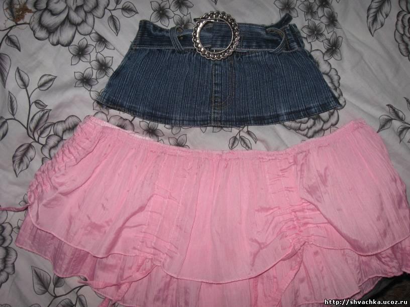 Как сшить юбку верх джинс низ ткань 20